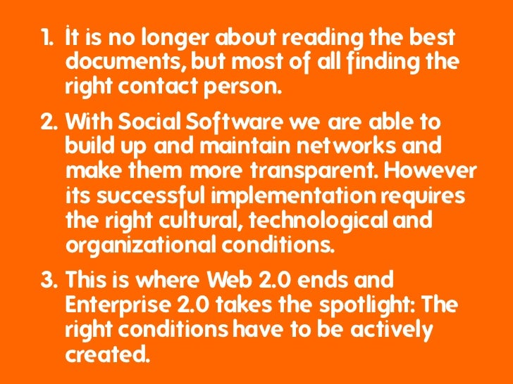 The key to Social Software success in business is...