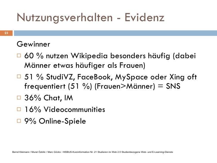 Nutzungsverhalten - Evidenz <ul><li>Gewinner </li></ul><ul><li>60 % nutzen Wikipedia besonders häufig (dabei Männer etwas ...