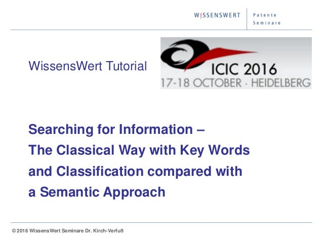 © 2014 WissensWert Seminare Dr. Kirch-Verfuß© 2016 WissensWert Seminare Dr. Kirch-Verfuß WissensWert Tutorial Searching fo...
