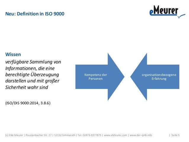 Neu: Definition in ISO 9000 Wissen verfügbare Sammlung von Informationen, die eine berechtigte Überzeugung darstellen und ...