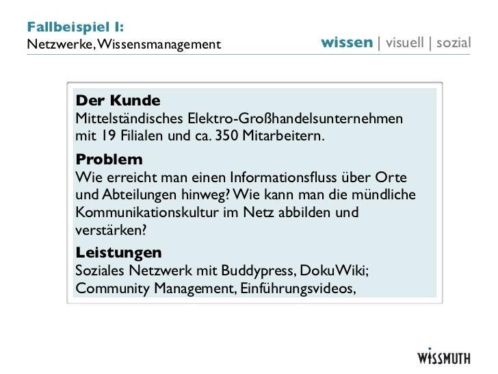 Fallbeispiel I:Netzwerke, Wissensmanagement              wissen   visuell   sozial       Der Kunde       Mittelständisches...