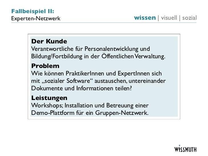 Fallbeispiel II:Experten-Netzwerk                           wissen   visuell   sozial      Der Kunde      Verantwortliche ...
