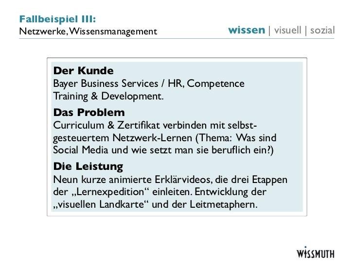 Fallbeispiel III:Netzwerke, Wissensmanagement                wissen   visuell   sozial      Der Kunde      Bayer Business ...