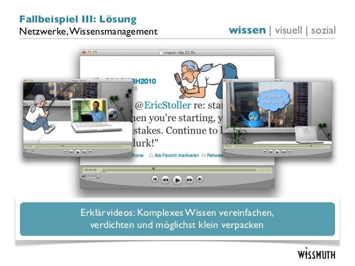 Fallbeispiel III: LösungNetzwerke, Wissensmanagement                 wissen   visuell   sozial            Erklärvideos: Ko...