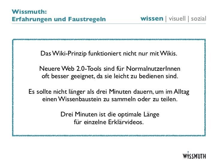 Wissmuth:Erfahrungen und Faustregeln                  wissen   visuell   sozial        Das Wiki-Prinzip funktioniert nicht...
