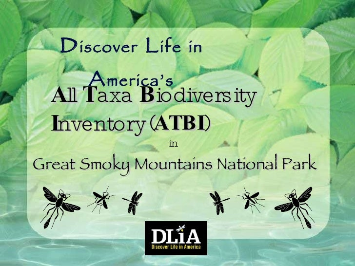 D iscover  L ife   in  A merica's A ll  T axa  B iodiversity  I nventory in Great Smoky Mountains National Park ( ATBI )