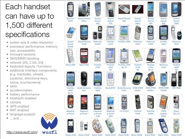 Over 25 O/S's platforms, middleware, and frameworks • Differences in platform/OS (Symbian, Nokia OS, RIM OS, Apple OS X, P...