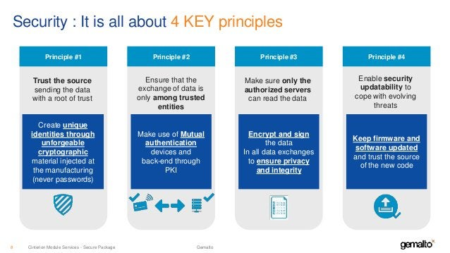 Security : It is all about 4 KEY principles Principle #1 Trust the source sending the data with a root of trust Create uni...