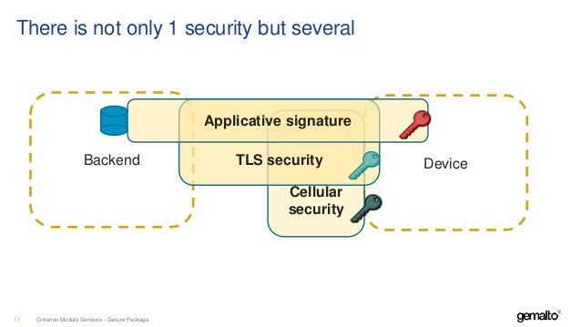 Cinterion Module Services - Secure Package11 Backend Device Cellular security TLS security Applicative signature There is ...
