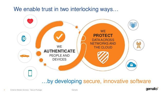 We enable trust in two interlocking ways… …by developing secure, innovative software WE AUTHENTICATE PEOPLE AND DEVICES WE...
