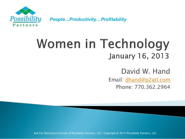 People…Productivity…Profitability                                                                      David W. Hand      ...