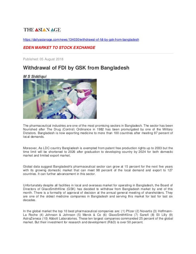 Withdrawal of fdi by gsk from bangladesh