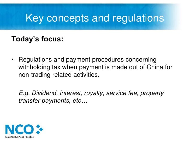 Remittance and withholding tax in china