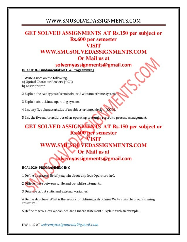 Solved assignments of smu mba 4th sem - Assignments solved