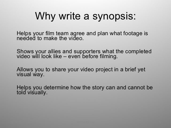 how to write a film synopsis