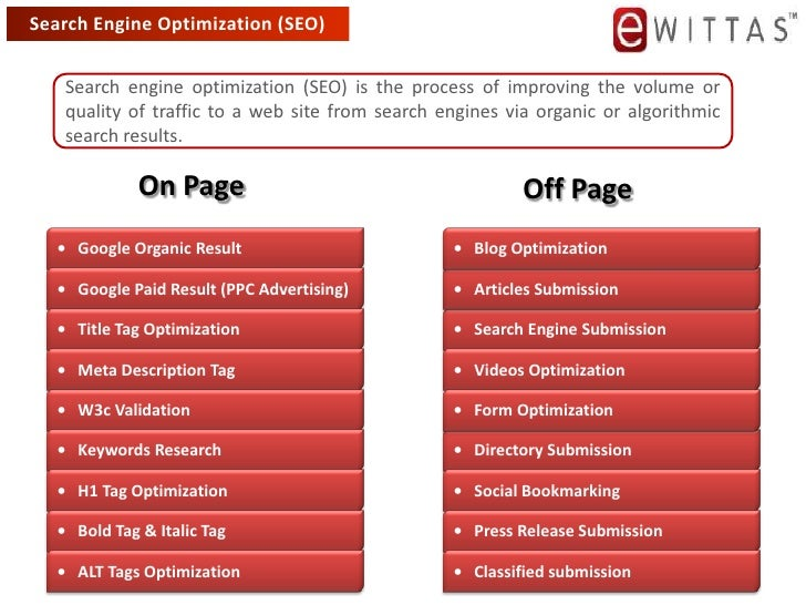 Search Engine Optimization (SEO)<br />Search engine optimization (SEO) is the process of improving the volume or quality o...