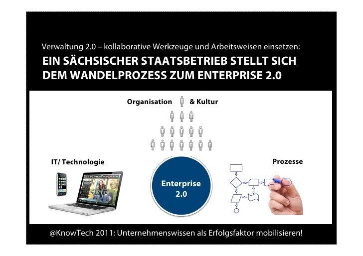 Verwaltung 2.0 – kollaborative Werkzeuge und Arbeitsweisen einsetzen:EIN SÄCHSISCHER STAATSBETRIEB STELLT SICHDEM WANDELPR...