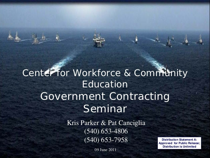 Center for Workforce & Community            Education   Government Contracting         Seminar        Kris Parker & Pat Ca...
