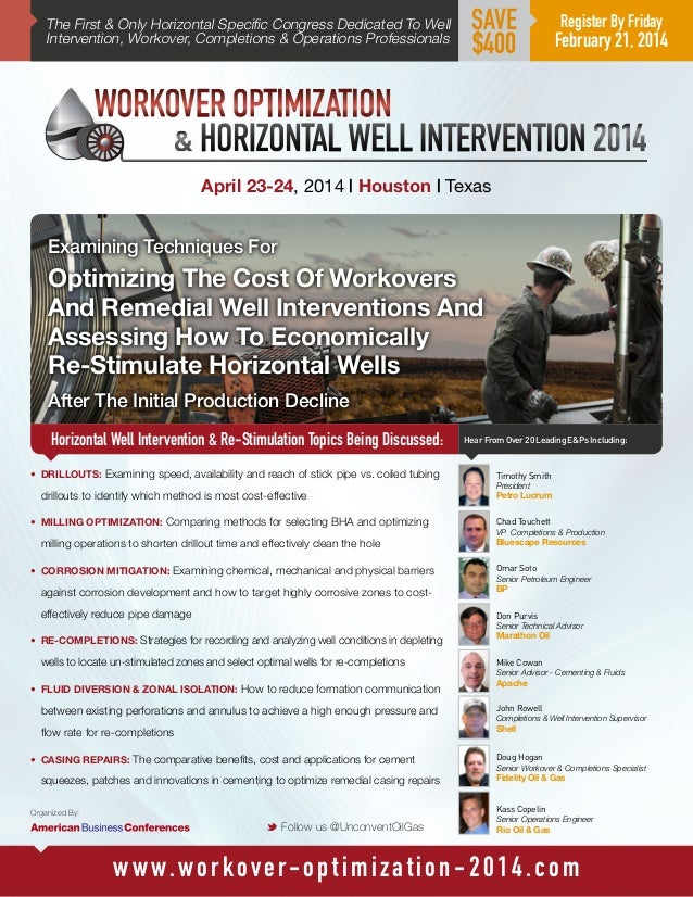 The First & Only Horizontal Specific Congress Dedicated To Well Intervention, Workover, Completions & Operations Professio...