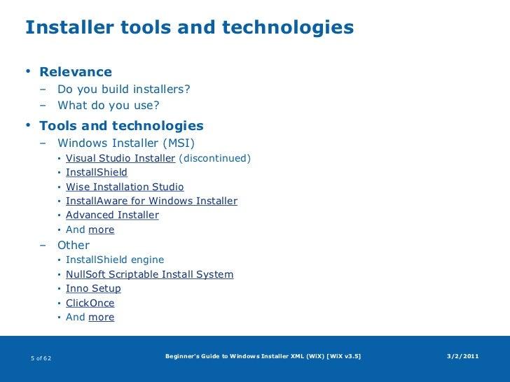 Beginner's Guide to Windows Installer XML (WiX)