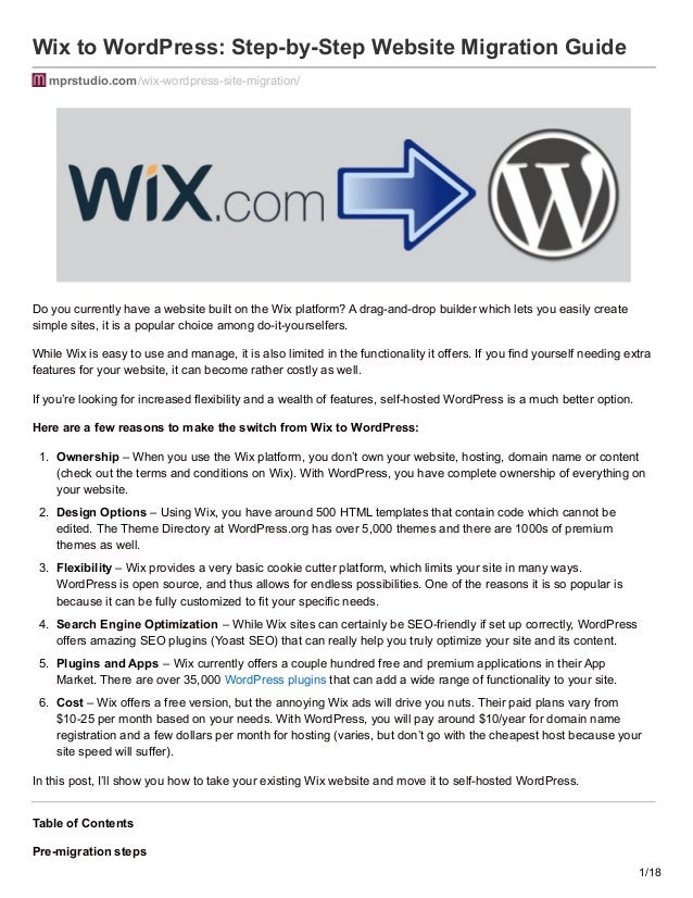 How to Move your Site from Wix to WordPress