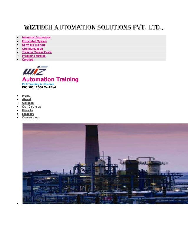 Wiztech automation solutions pvt. Ltd., Industrial Automation Embedded System Software Training Communication Training Cou...