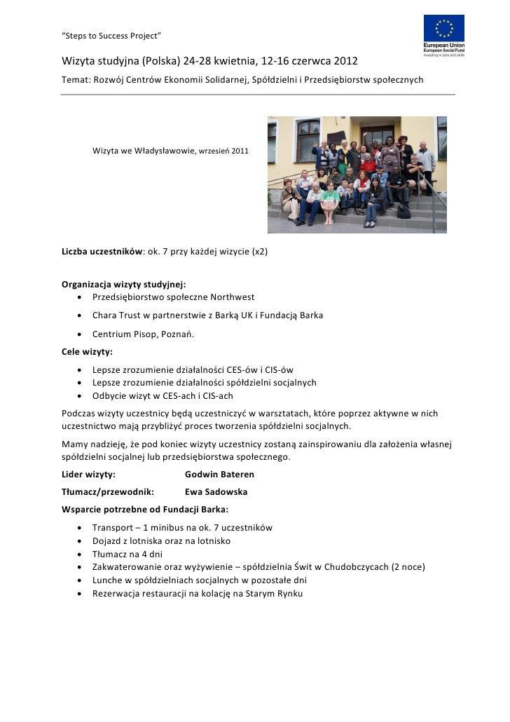 """""""Steps to Success Project""""Wizyta studyjna (Polska) 24-28 kwietnia, 12-16 czerwca 2012Temat: Rozwój Centrów Ekonomii Solida..."""