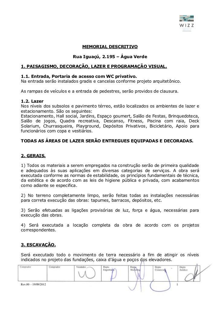 MEMORIAL DESCRITIVO                         Rua Iguaçú, 2.195 – Água Verde1. PAISAGISMO, DECORAÇÃO, LAZER E PROGRAMAÇÃO VI...