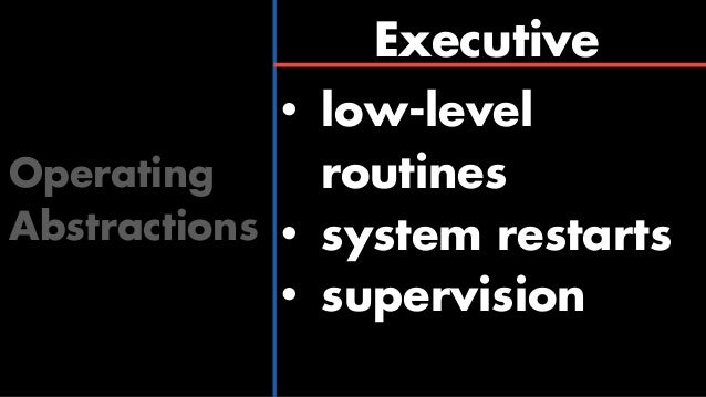 Interpreter Operating Abstractions • high-level routines • rich instruction set • extra-wide words