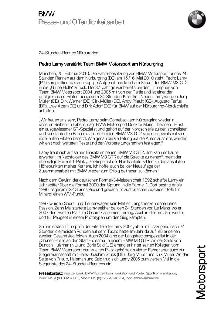 BMWPresse-Presse- und Öffentlichkeitsarbeit24-Stunden-Rennen Nürburgring           versPedro Lamy verstärkt Team BMW Motor...