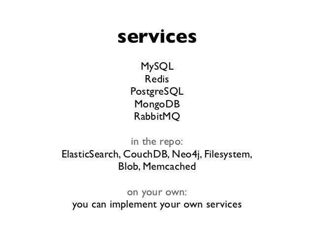 services                 MySQL                  Redis               PostgreSQL                MongoDB                Rabbi...
