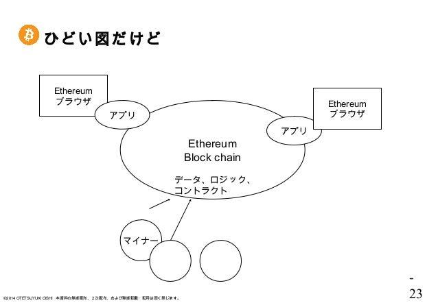 - 23©2014 OTETSUYUKI OISHI 本資料の無断配布、2次配布、および無断転載・転用は固く禁じます。 ひどい図だけど Ethereum Block chain データ、ロジック、 コントラクト マイナー Ethereum ブラ...