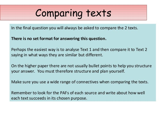 write essay comparing two texts