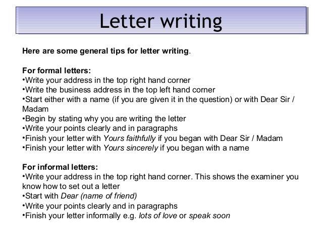 Formal Letter Structure - GCSE English Language
