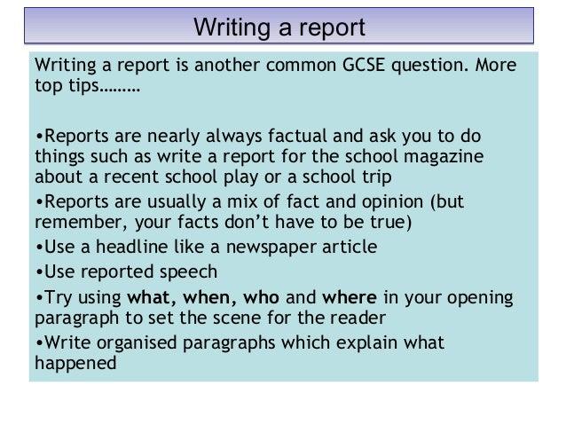 igcse english report writing examples