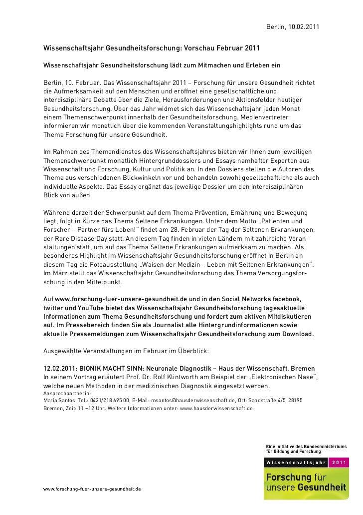 Berlin, 10.02.2011Wissenschaftsjahr Gesundheitsforschung: Vorschau Februar 2011Wissenschaftsjahr Gesundheitsforschung lädt...