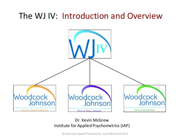 The WJ IV: Introduction and Overview Dr. Kevin McGrew Institute for Applied Psychometrics (IAP) © Institute for Applied Ps...