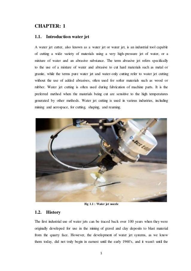 Water Jet Machine/Machining Project Report