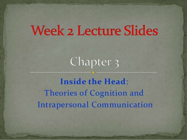 Inside the Head:  Theories of Cognition andIntrapersonal Communication