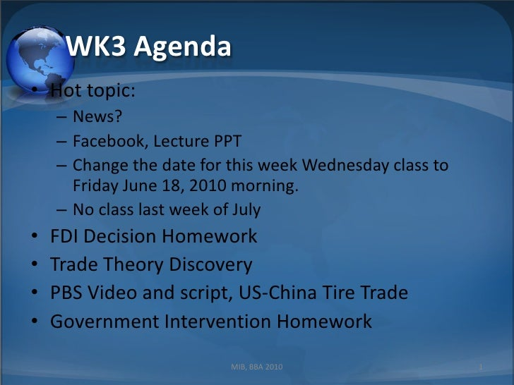WK3 Trade  Theory And  Government