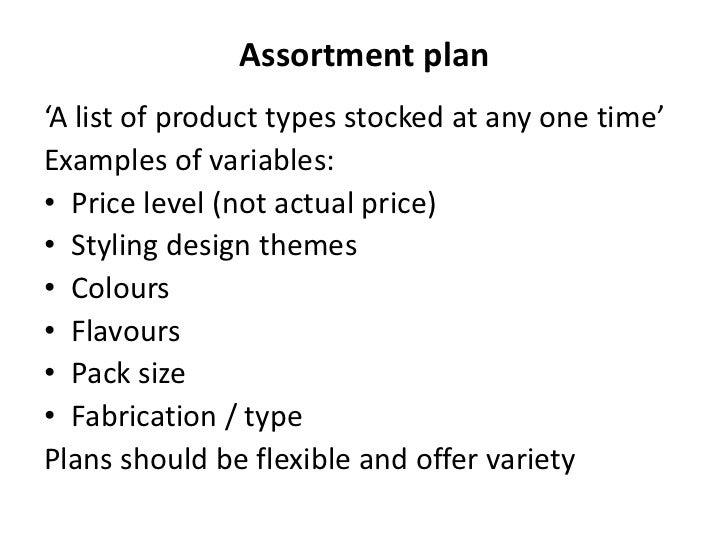 how to make an assortment plan