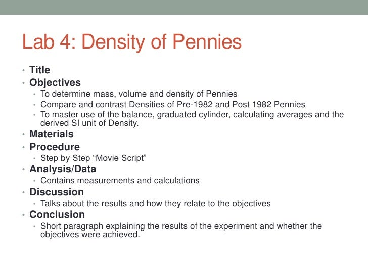 penny lab report Optimizing a windows-based computer data acquisition and reduction system for the general chemistry laboratory the rubric was shared with the.