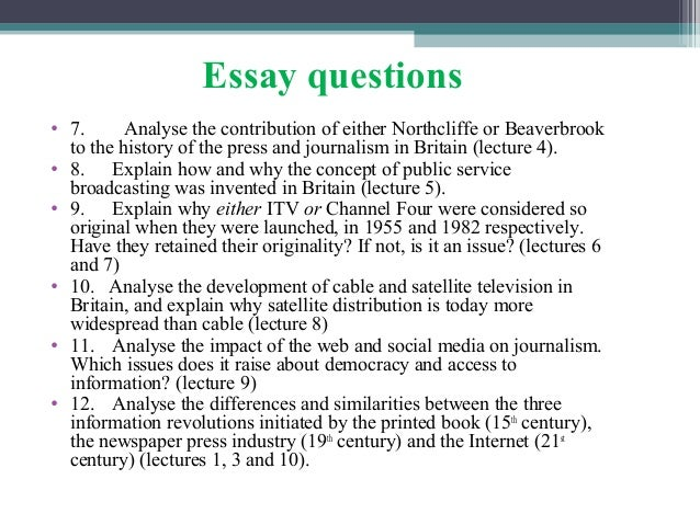 the history of television journalism essay