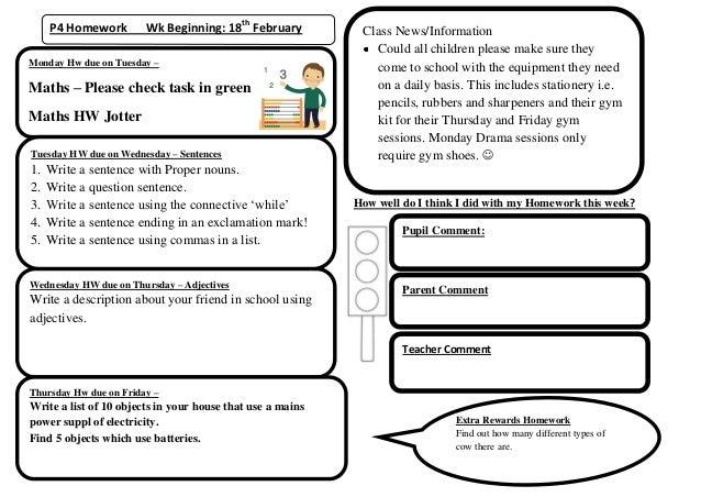 P4 Homework        Wk Beginning: 18th February          Class News/Information                                            ...