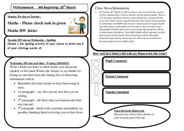 P4 Homework          Wk Beginning: 18th March                  Class News/Information                                     ...