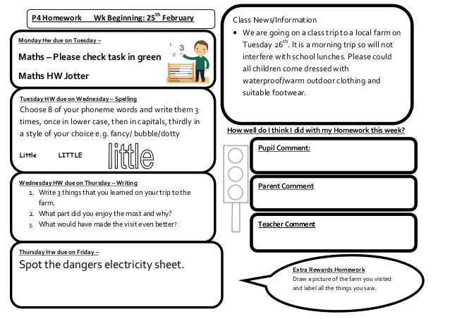 P4 Homework          Wk Beginning: 25th February         Class News/Information                                           ...