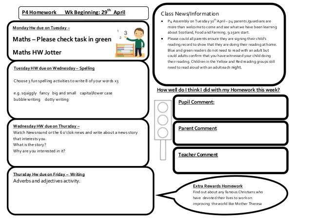 P4 Homework Wk Beginning: 29thAprilMonday Hw due on Tuesday –Maths – Please check task in greenMaths HW JotterTuesday HW d...