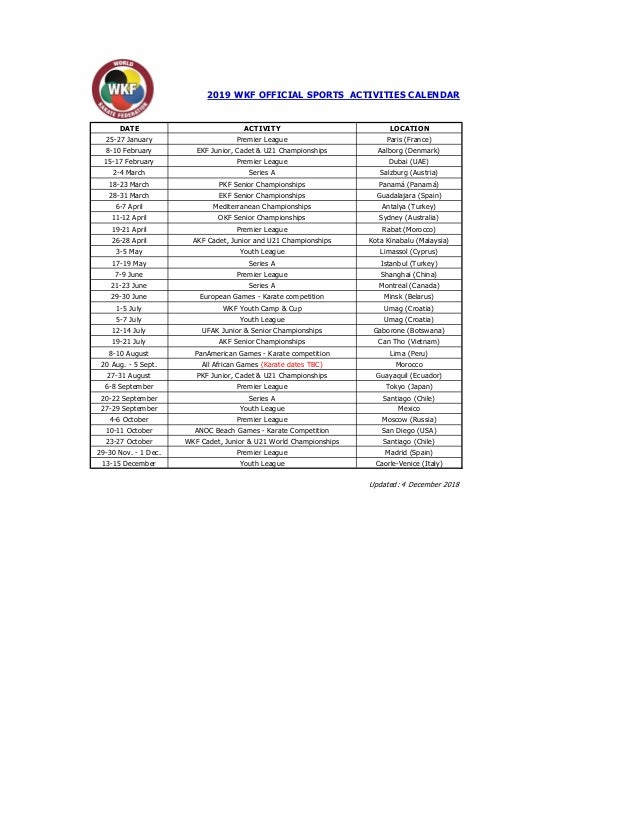 Calendario Madrid 2019.Calendario Oficial De Actividades Deportivas De La Wkf 2019 Actualiz