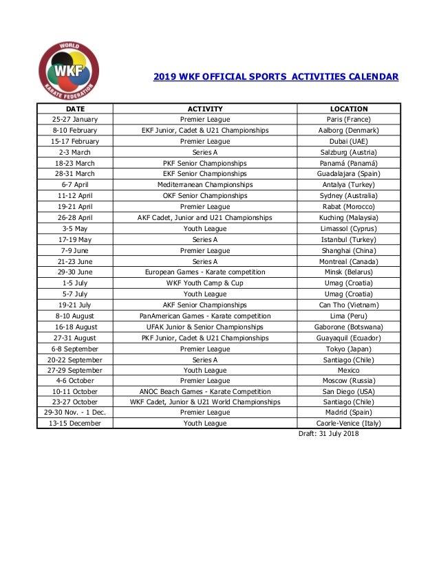 Sports Calendar 2019 Wkf 2019 sports calendar draft clean