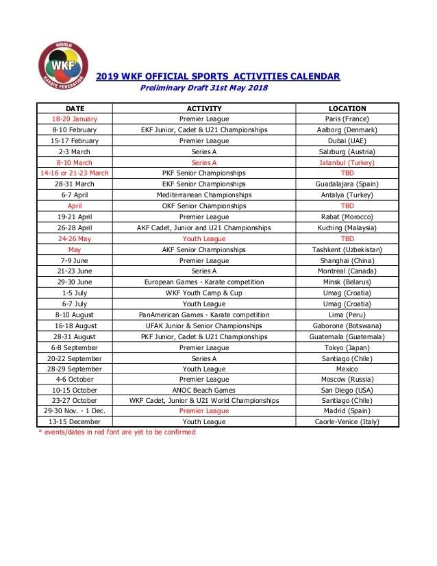 Sports Calendar 2019 Wkf 2019 sports calendar preliminary draft n fs
